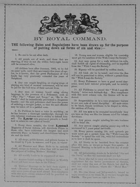 Broadside entitled 'By Royal Command'