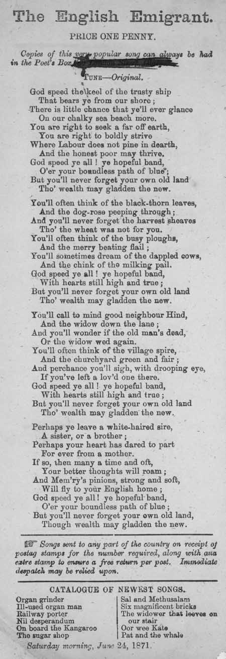 Broadside ballad entitled 'The English Emigrant'