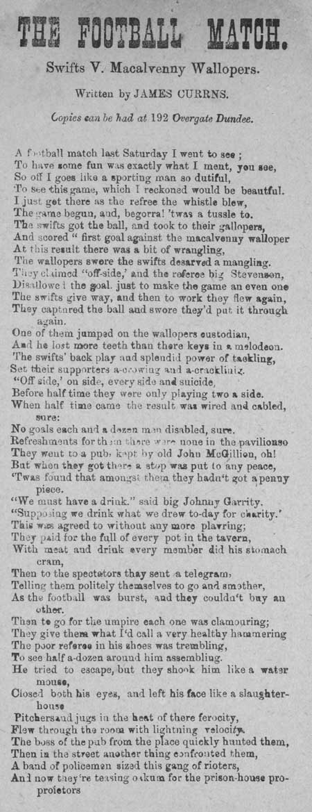 Broadside entitled 'The Football Match'