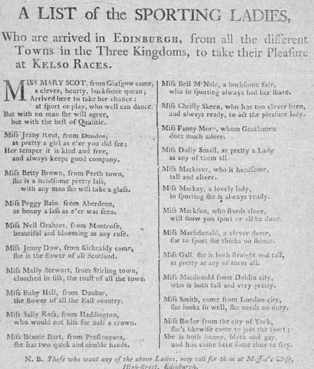 Broadside regarding the arrival of sporting ladies in Edinburgh