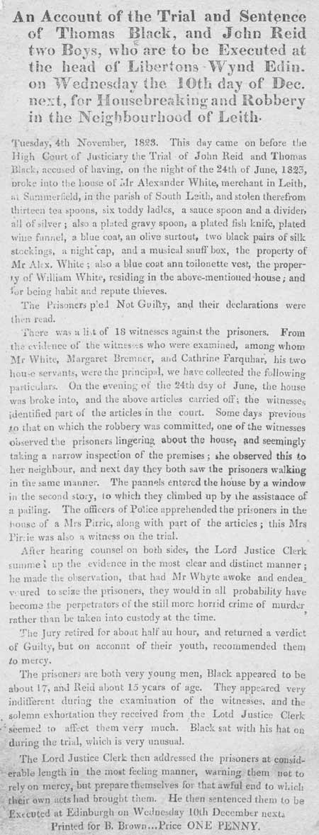 Broadside regarding the trial and sentence of Thomas Black and John Reid