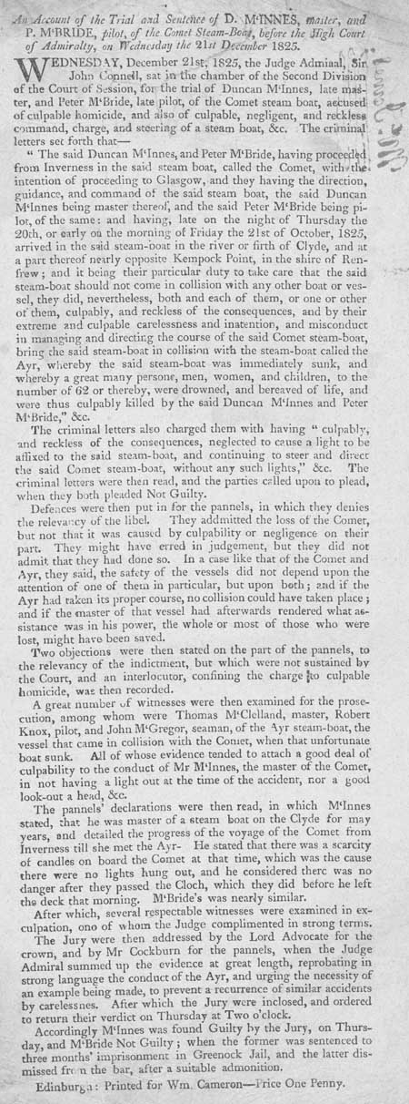 Broadside regarding the trial and sentence of D. McInnes and P. McBride