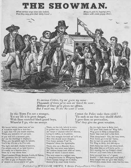 Broadside ballad entitled 'The Showman'