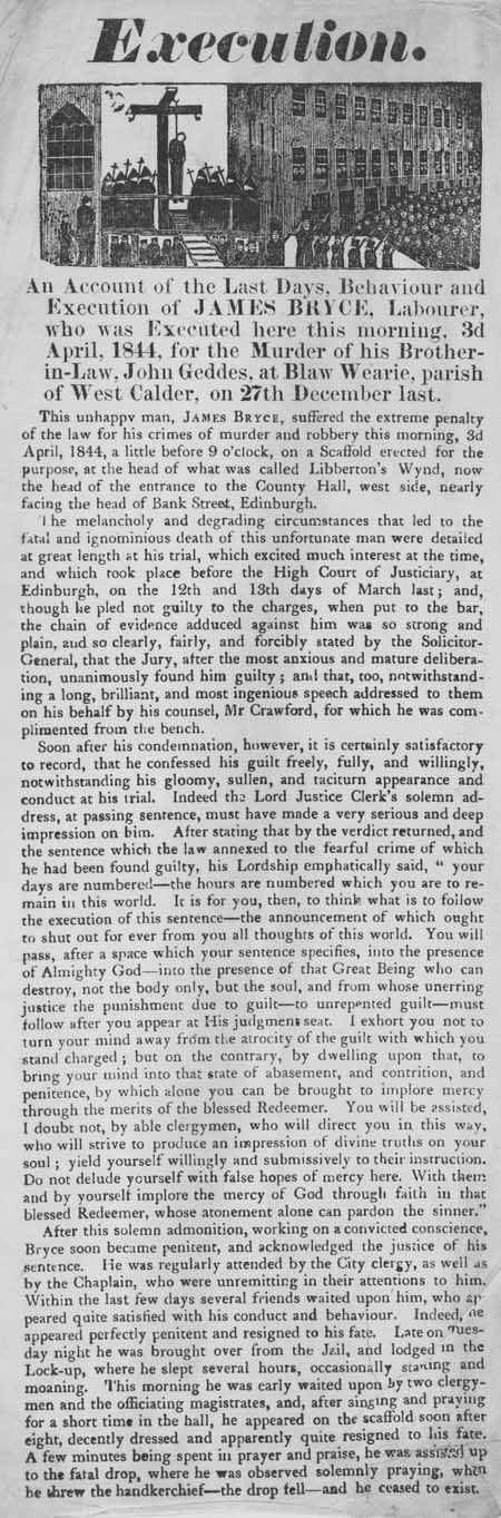 Broadside regarding the execution of James Bryce