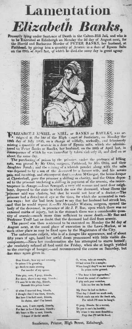 Broadside entitled 'Lamentation of Elizabeth Banks'
