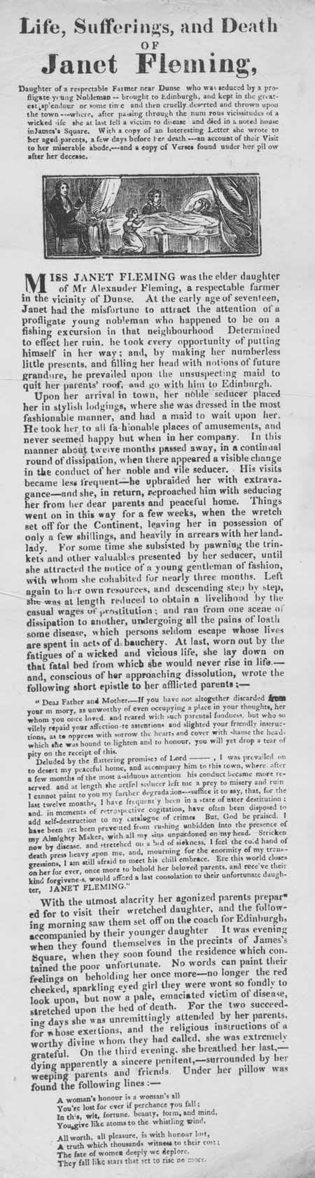 Broadside entitled 'Life, Sufferings, and Death of Janet Fleming'