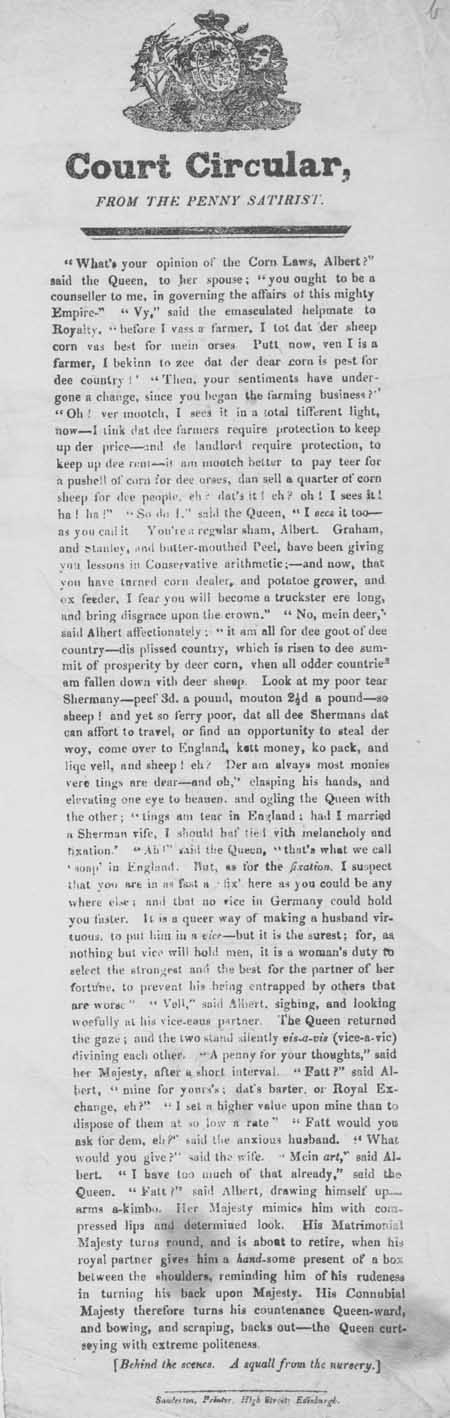 Broadside entitled 'Court Circular, From the Penny Satirist'