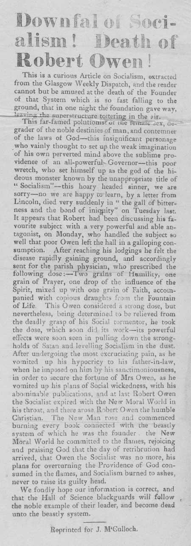 Broadside entitled 'Downfall of Socialism! Death of Robert Owen!'