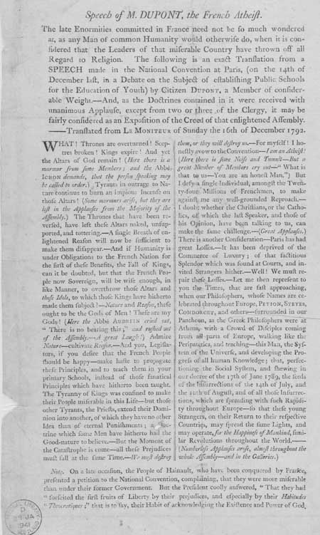 Broadside entitled 'Speech of M. Dupont, the French Atheist'