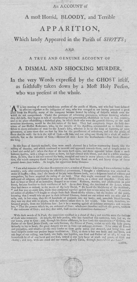 Broadside regarding an apparition which appeared at Shotts, Lanarkshire, Scotland