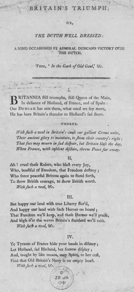 Broadside ballad entitled 'Britain's Triumph; Or, The Dutch Well Dressed:'