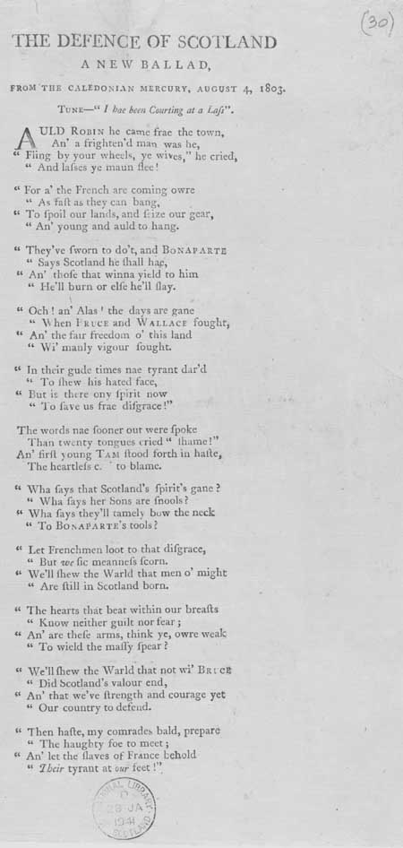 Broadside ballad entitled 'The Defence of Scotland'