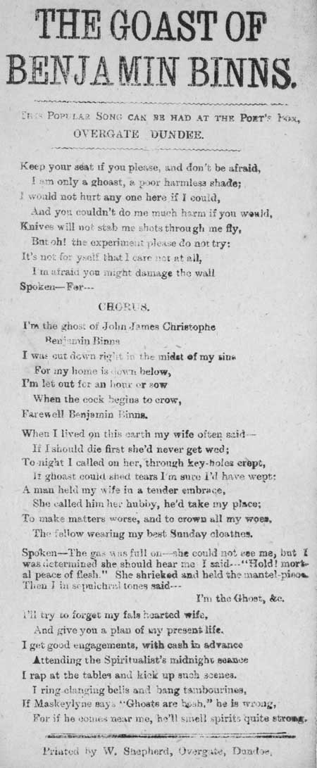 Broadside ballad entitled 'The Ghost of Benjamin Binns'