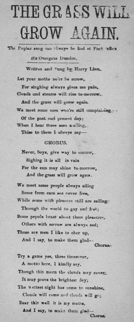 Broadside ballad entitled 'The Grass Will Grow Again'