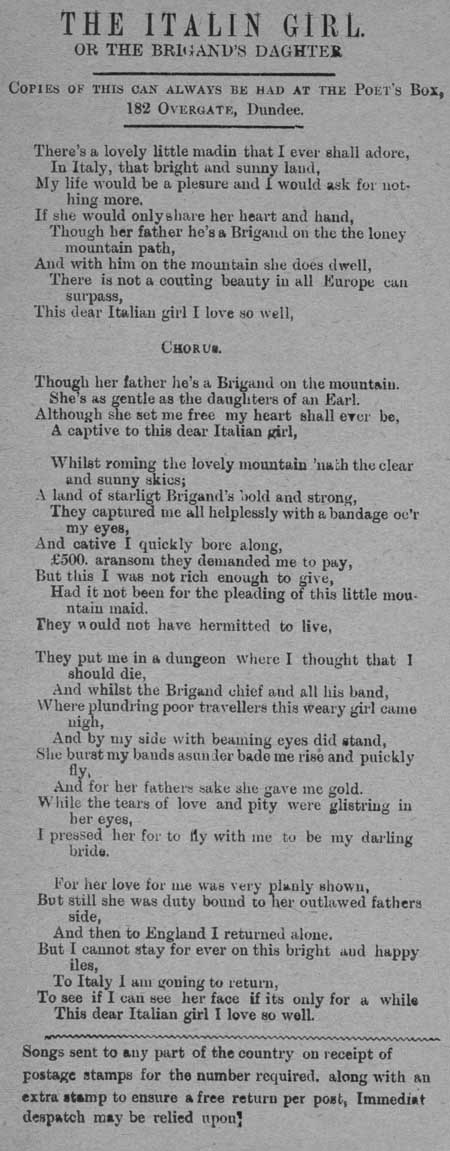 Broadside ballad entitled 'The Italian Girl, or The Brigand's Daughter'