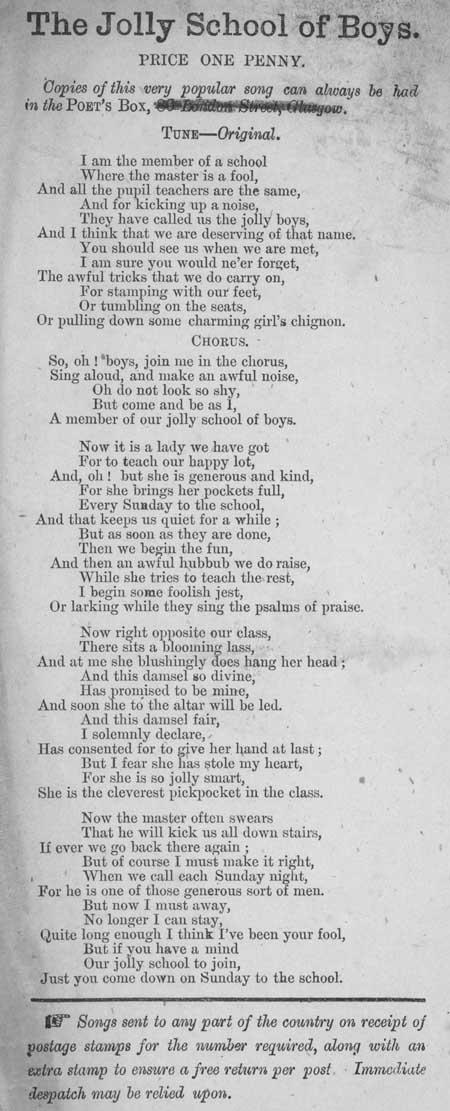 Broadside ballad entitled 'The Jolly School of Boys'