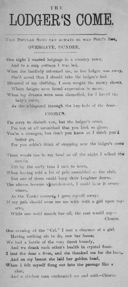 Broadside ballad entitled 'The Lodger's Come'