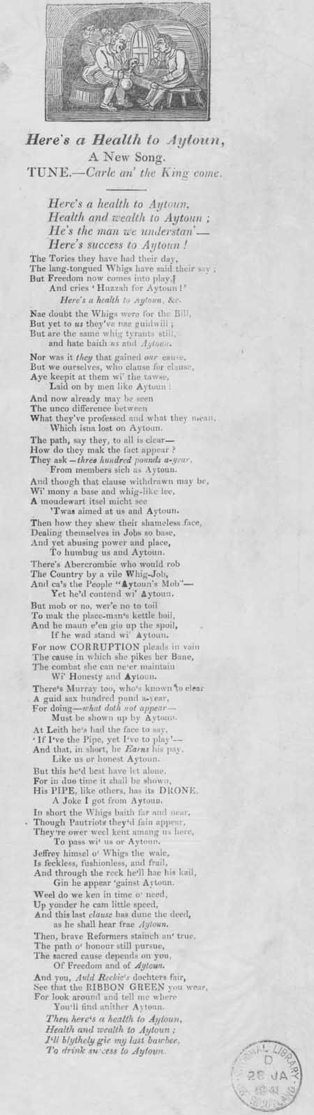 Broadside ballad entitled 'Here's a Health to Aytoun, a New Song'