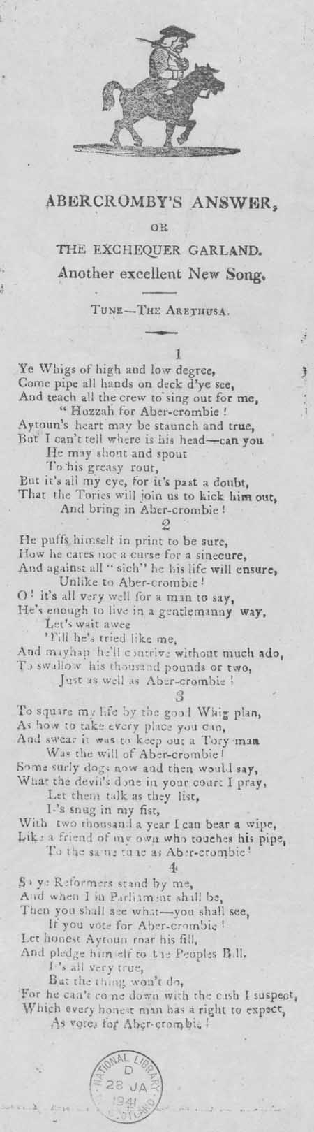 Broadside ballad entitled 'Abercromby's Answer, or the Exchequer Garland. Another excellent New Song'
