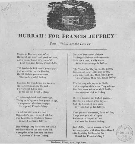 Broadside ballad entitled : 'Hurrah! For Francis Jeffrey!'