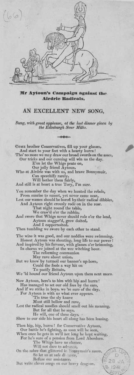 Broadside entitled 'Mr Aytoun's Campaign against the Airdrie Radicals'