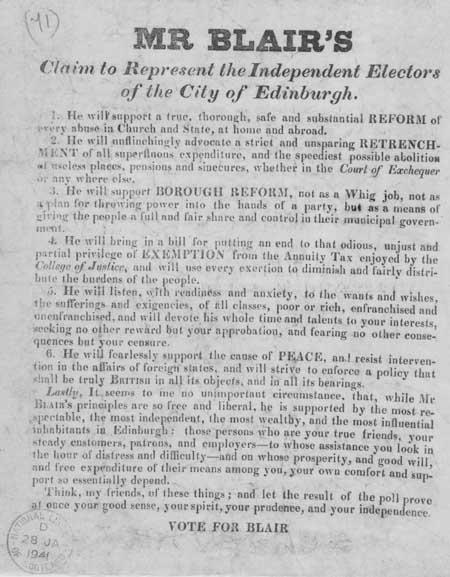 Broadside entitled 'Mr Blair's Claim to Represent the Independent Electors of the City of Edinburgh'