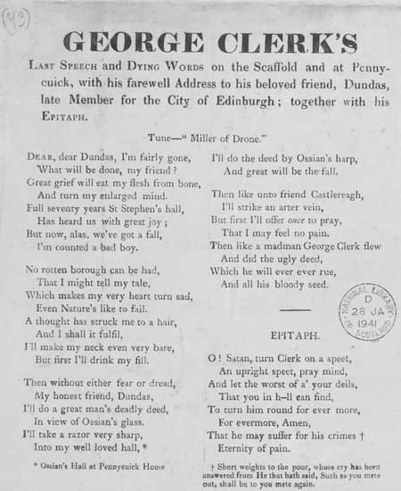 Broadside entitled 'George's Clerk's Last Speech and Dying Words'