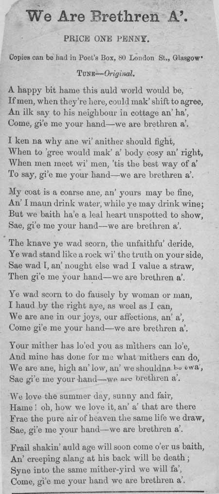 Broadside ballad entitled 'We Are Brethren A''