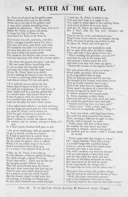 Broadside ballad entitled 'St Peter at the Gate'