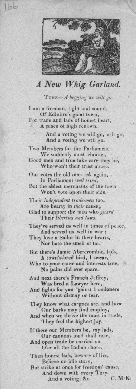 Broadside ballad entitled 'A New Whig Garland'