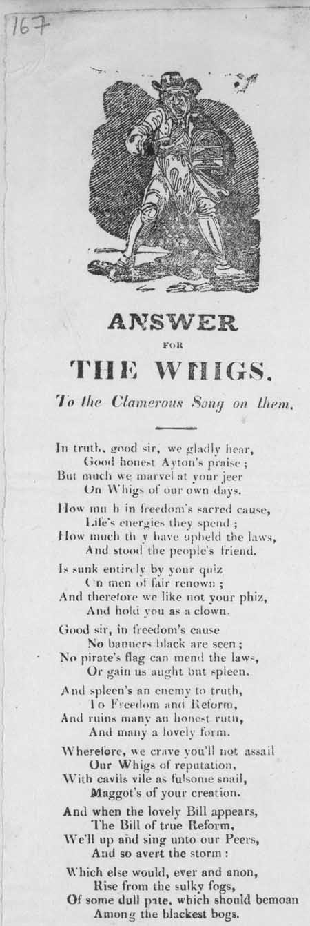 Broadside ballad entitled 'Answer for the Whigs To the Clamorous Song On Them'