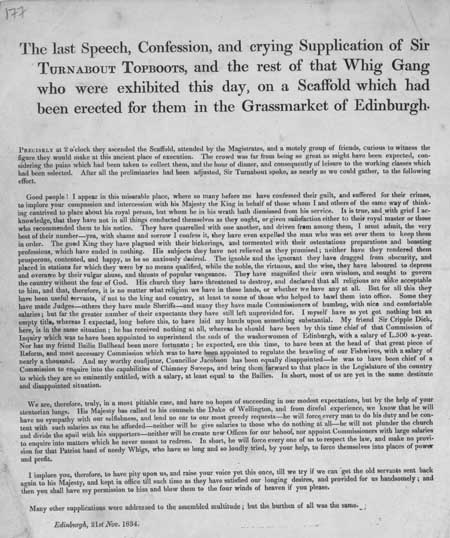 Broadside concerning the imagined execution of some Whig Party members in Edinburgh's Grassmarket