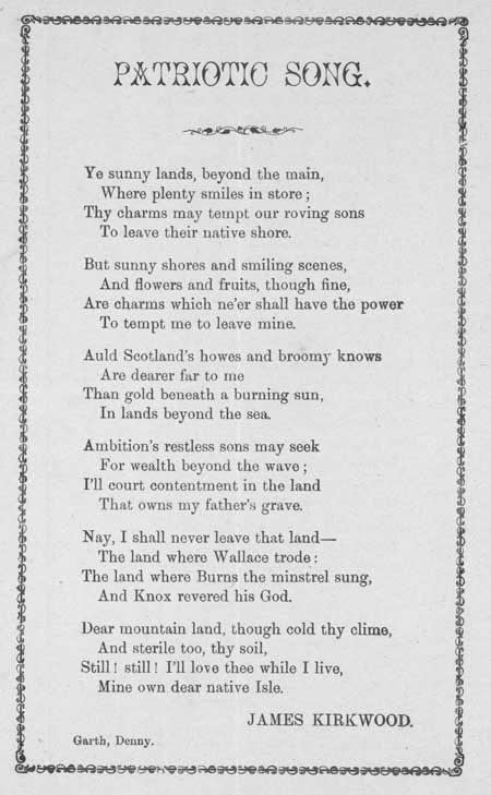 Broadside ballad entitled 'Patriotic Song'