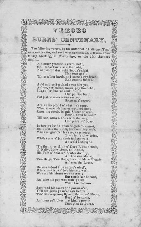 Broadside poem entitled: 'Verses on Burns' Centenary'