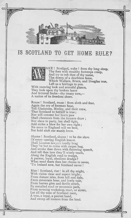 Broadside ballad entitled 'Is Scotland to Get Home Rule?'