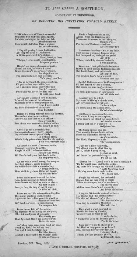 Broadside ballad entitled 'To J*** C***** A Southron'