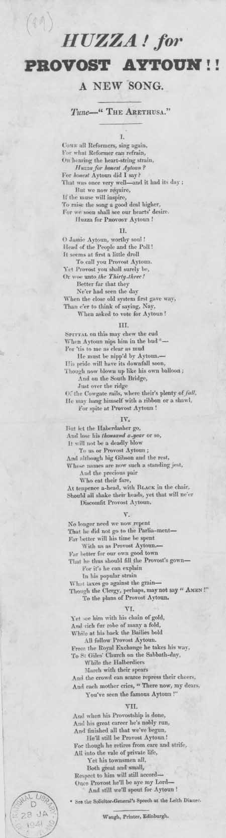 Broadside ballad entitled 'Huzza! for Provost Aytoun!! A New Song'