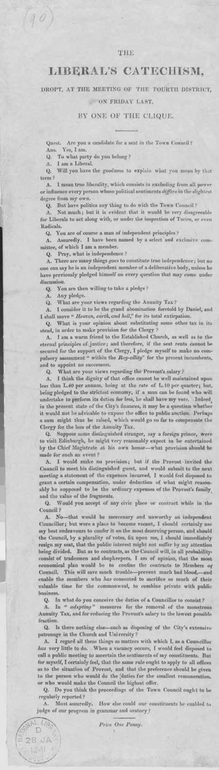 Broadside entitled 'The Liberal's Catechism, Dropt at the Meeting of the Fourth District, by One of the Clique'