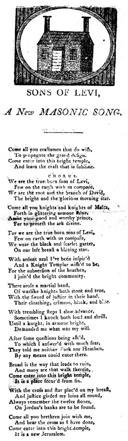 Broadside ballad entitled 'Sons of Levi, A New Masonic Song'