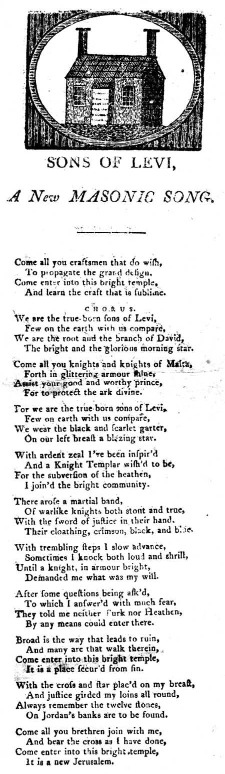Broadside ballad entitled 'Sons of Levi, A New Masonic Song'