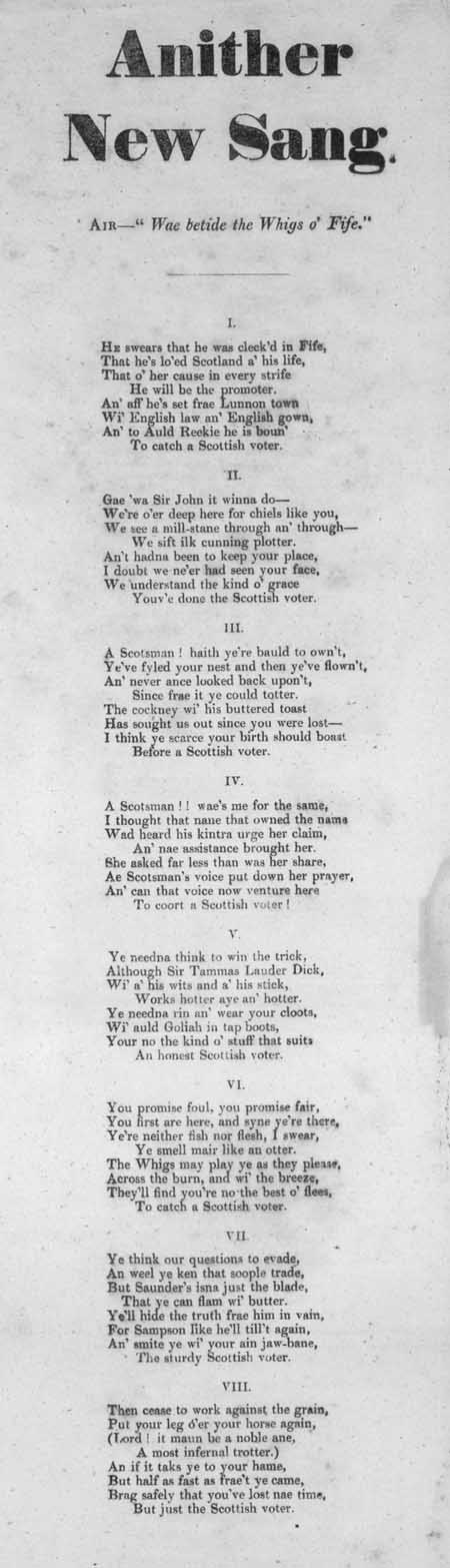 Broadside ballad entitled 'Anither New Sang'