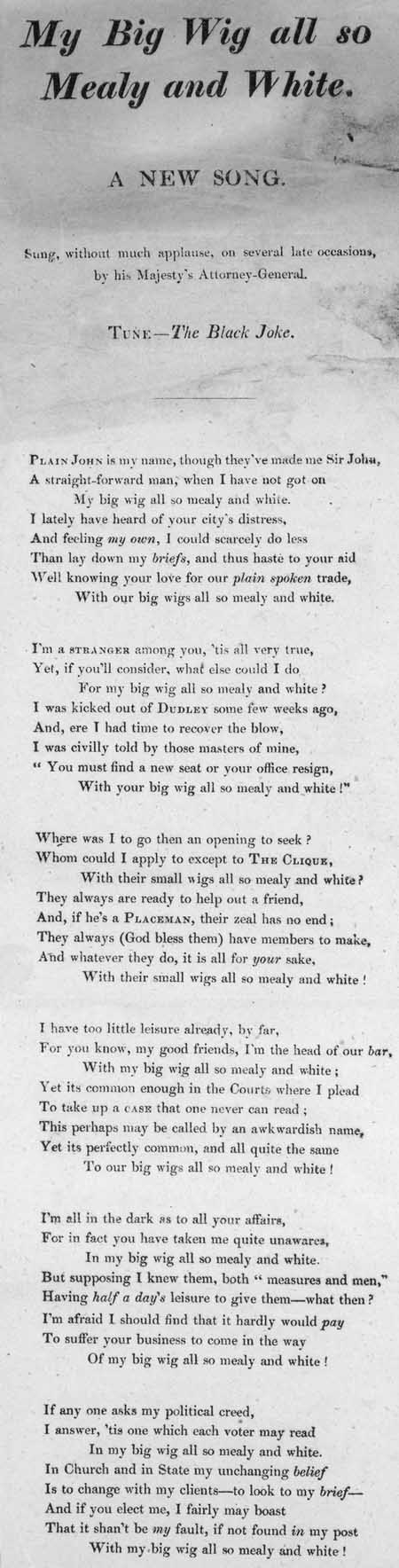 Broadside ballad entitled 'My Big Wig All So Mealy and White'