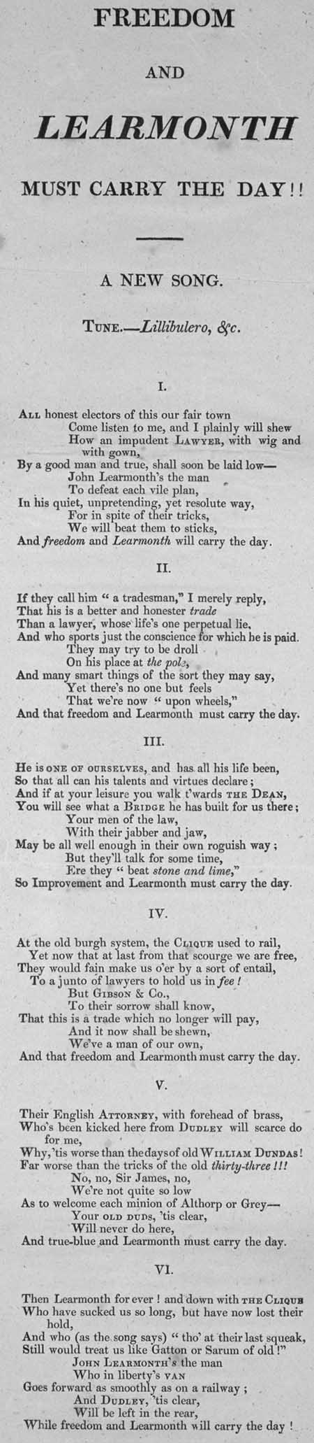 Broadside ballad entitled 'Freedom and Learmonth Must Carry the Day'