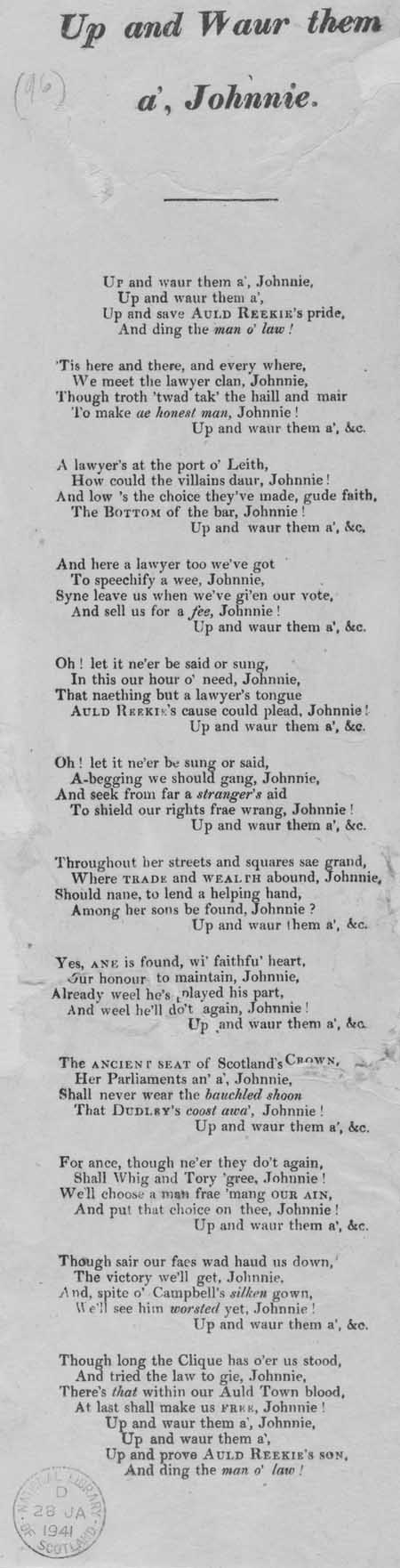 Broadside ballad entitled 'Up and Waur Them A', Johnnie'