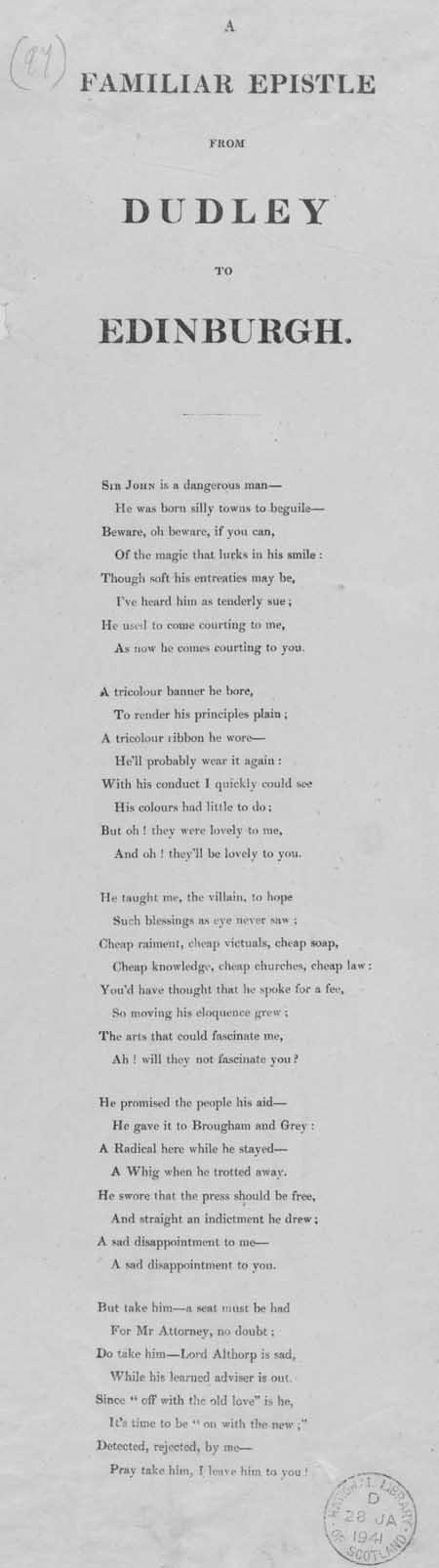 Broadside ballad entitled 'A Familiar Epistle from Dudley to Edinburgh'