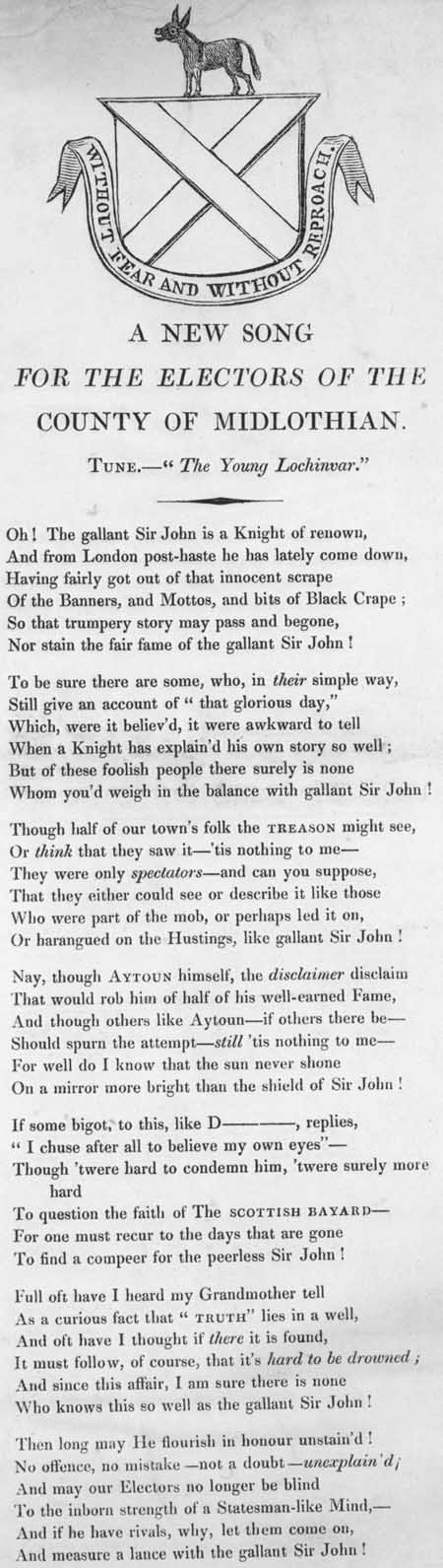 Broadside ballad entitled 'A New Song for the Electors of the County of Midlothian'