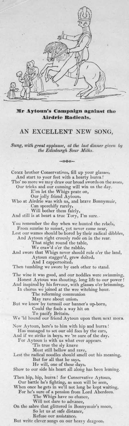 Broadside ballad entitled 'Mr Aytoun's Campaign against the Airdrie Radicals'