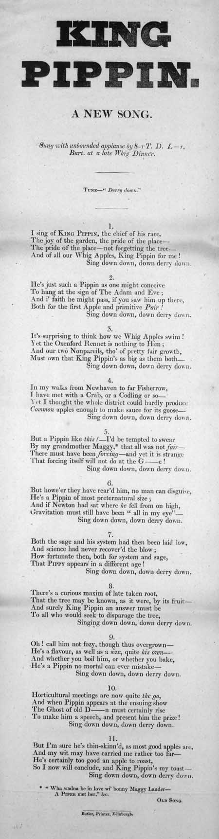 Broadside ballad entitled 'King Pippin'