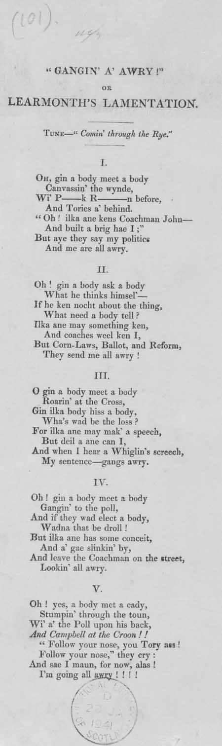 Broadside ballad entitled 'Gangin' a' Awry! Or Learmonth's Lamentation'