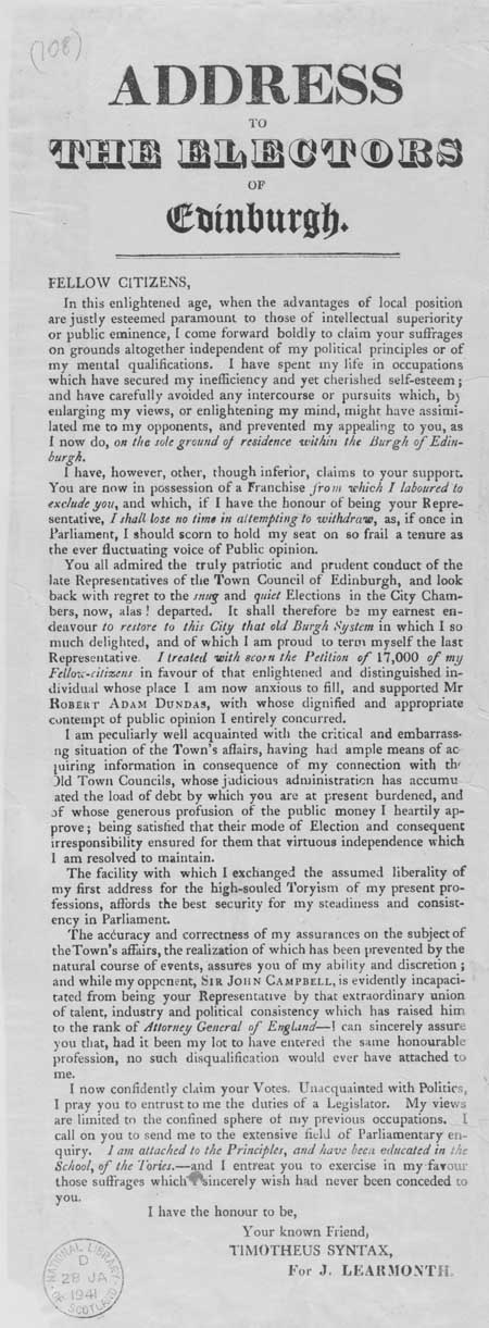 Broadside entitled 'Address to the Electors of Edinburgh'